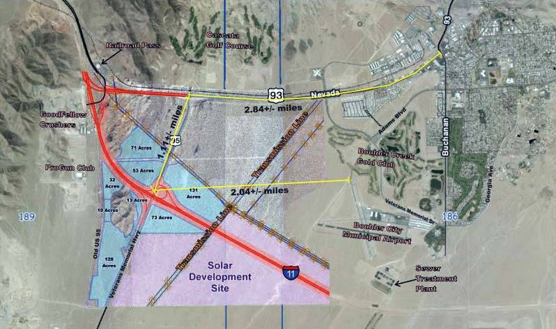 GC Garcia This map of the area surrounding the future interchange of Interstate 11 and U.S. Highway 95 presented to the city by GC Garcia shows acreage of the areas that could be developed and dis ...