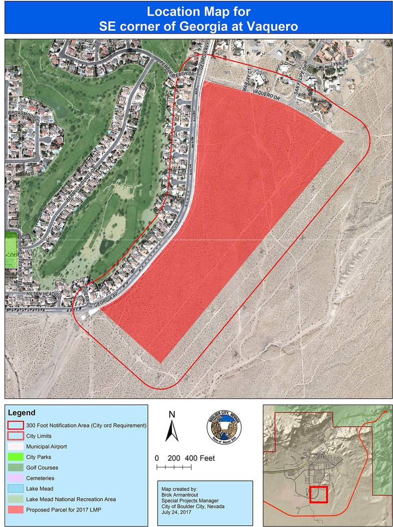 Boulder City Approximately 80 acres of land east of Georgia Avenue and south of Vaquero Drive is being considering for residential development through a possible amendment to the city's land manag ...
