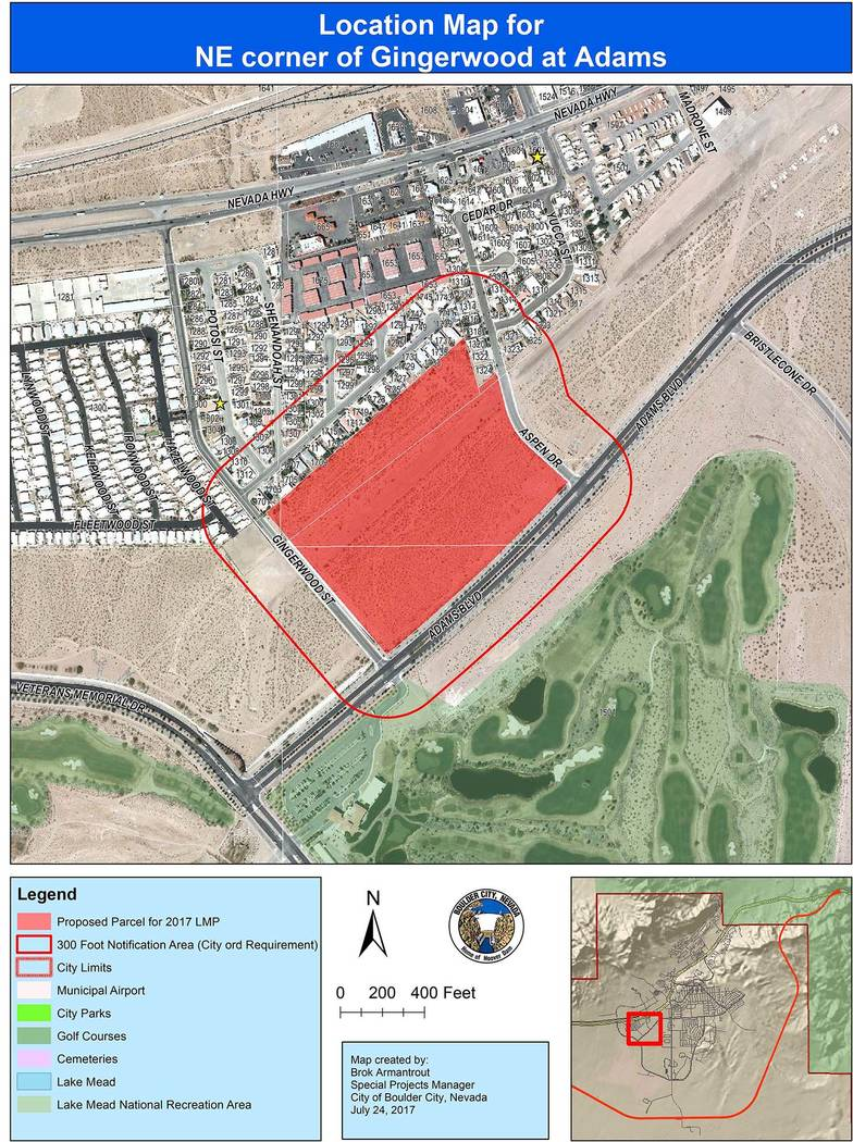 Boulder City Approximately 24 acres of land north of Adams Boulevard between Gingerwood Street and Aspen Drive is being considering for residential development through a possible amendment to the  ...