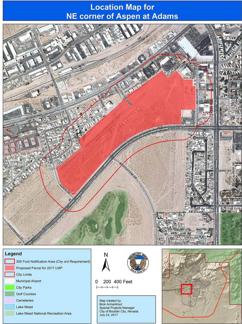 Boulder City Approximately 48 acres of land north of Adams Boulevard between Aspen Drive and Walnut Drive is being considering for residential development through a possible amendment to the city' ...