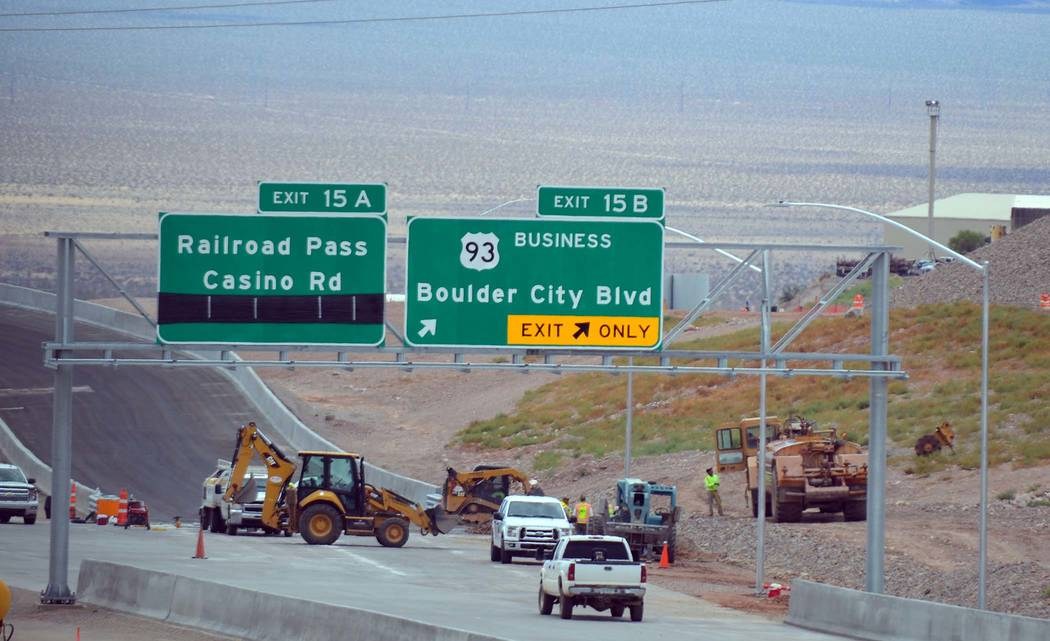 """Celia Shortt Goodyear/Boulder City Review The new sign on Interstate 11 says """"Boulder City Blvd,"""" which is an error. Nevada Department of Transportation will fix it and have it read Boulder City P ..."""