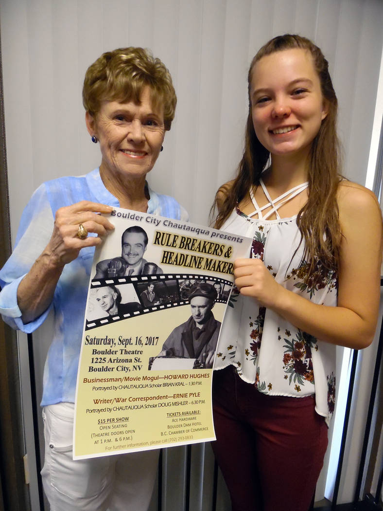 Hali Bernstein Saylor/Boulder City Review Bev Mazza, left, of Boulder City Chautauqua presented Lauryn Norris of Boulder City with the first-place prize for her design of a poster announcing this  ...