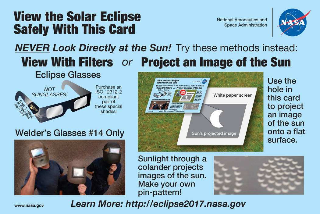 NASA NASA offers a variety of methods to view the solar eclipse on Monday without damaging your eyes.