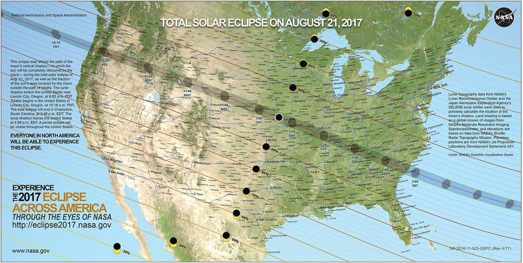 NASA The shaded band across the United States indicates where Monday's solar eclipse can be seen in totality.