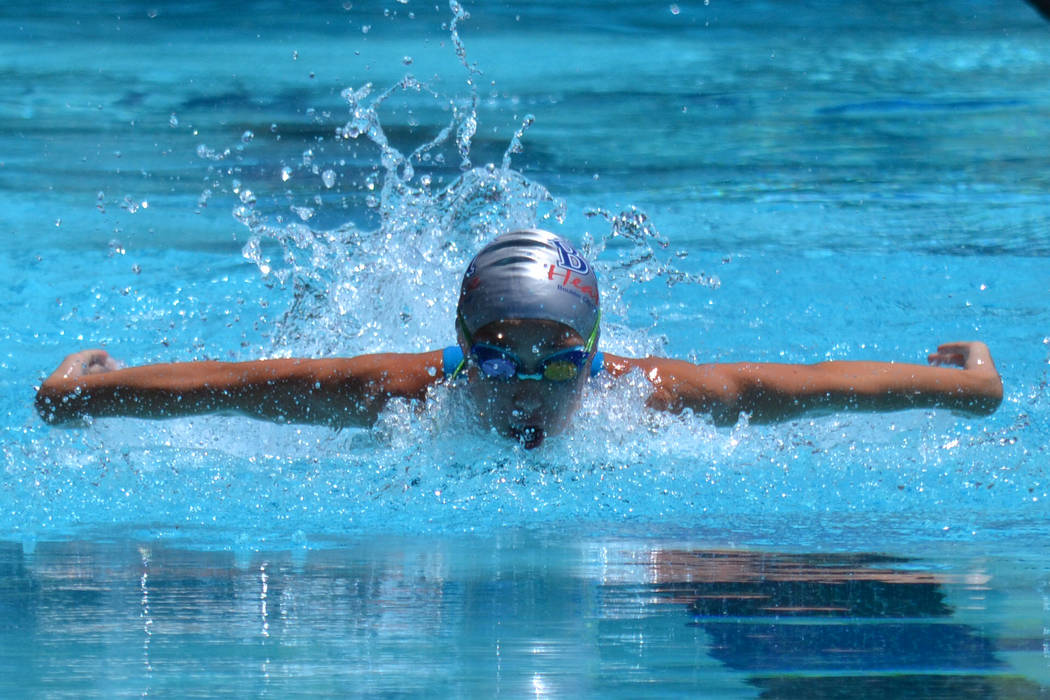Sarah Fecteau Tara Highley competes for the Boulder City-Henderson Heatwave during the Southern California Swimming Summer Junior Olympics held July 26-29 in Riverside, California.