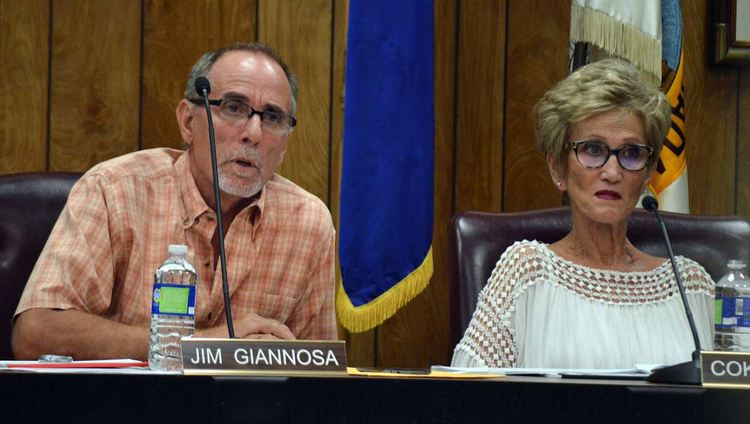 Celia Shortt Goodyear/Boulder City Review Planning Commissioners Jim Giannosa and Cokie Booth listen to members of the public at Wednesday's Planning Commission meeting.