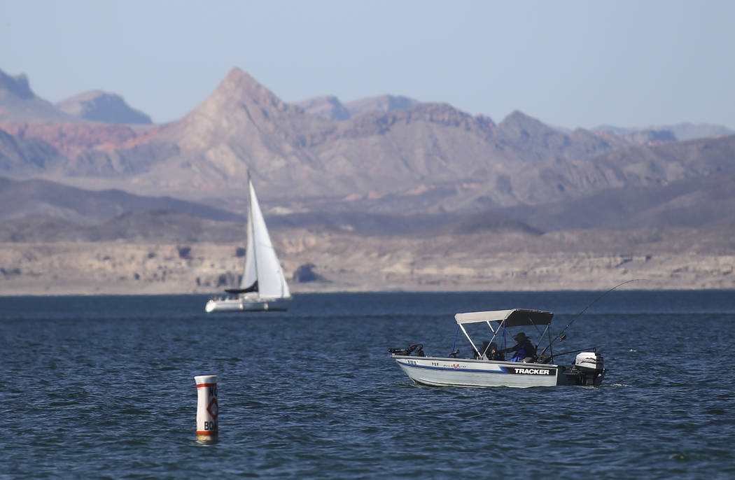 Chase Stevens Las Vegas Review-Journal A fisherman spends time on the water at Lake Mead National Recreation Area on Tuesday, Aug. 15, 2017. A recent pact with Mexico is expected to benefit Lake M ...