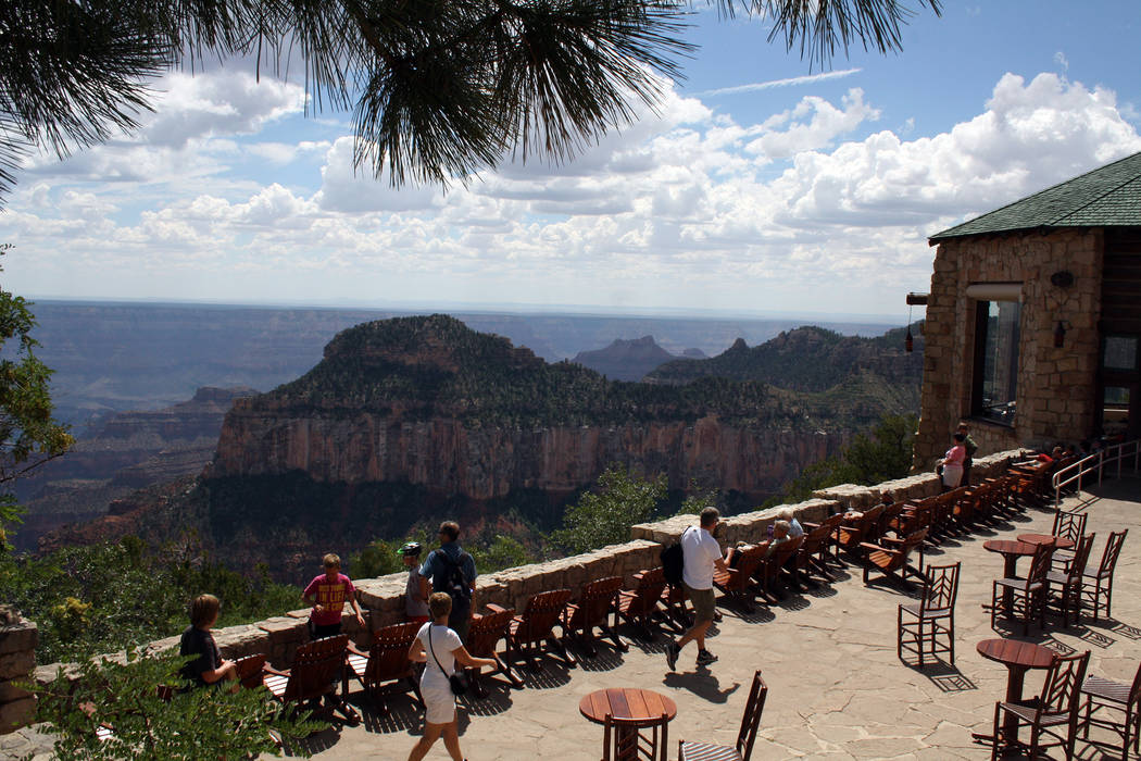 Deborah Wall The deck at the Grand Canyon Lodge offers view of the national park in Arizona.