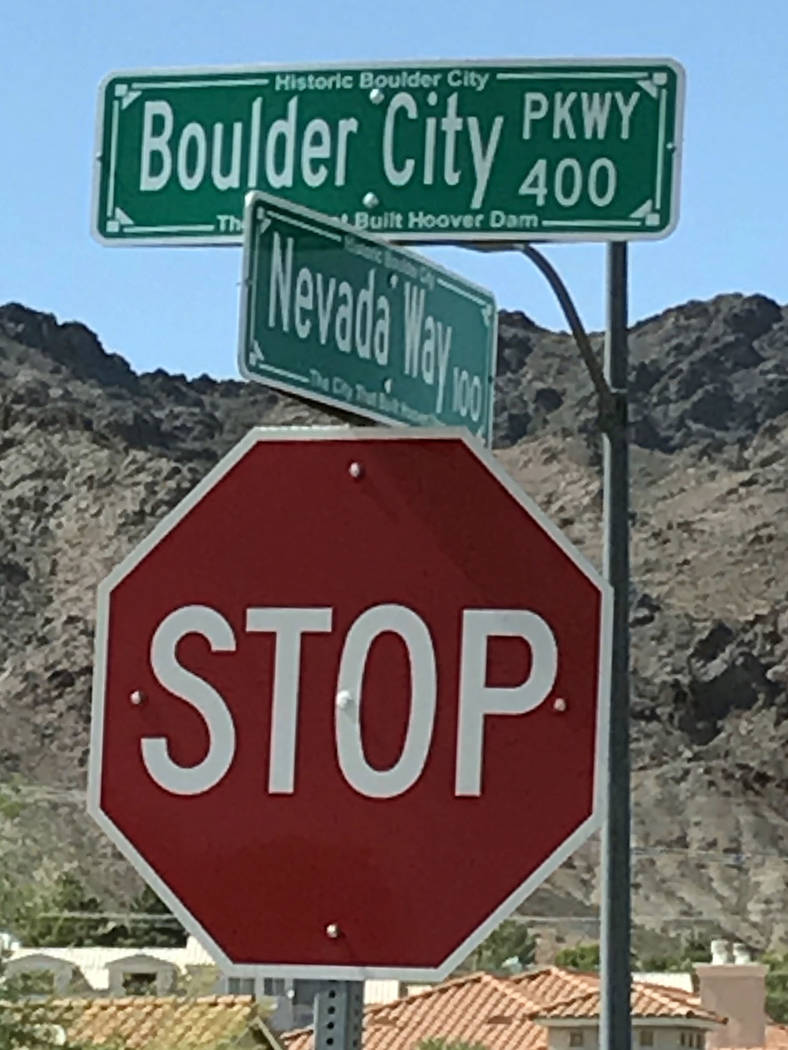Boulder City This is a rendering of the new street signs the city's public works department installed along what used to be Nevada Highway and is now Boulder City Parkway.