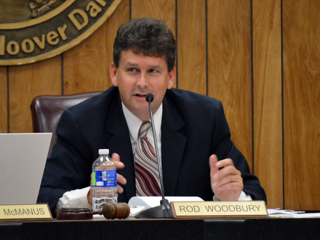 Celia Shortt Goodyear/Boulder City Review Boulder City Mayor Rod Woodbury comments on the proposed agreement for the open city attorney position during Tuesday's City Council meeting.