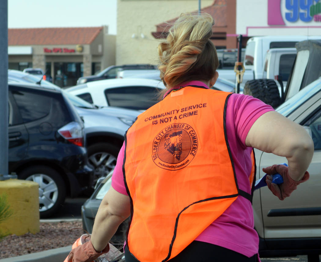 "Celia Shortt Goodyear/Boulder City Review ""Community service is a not crime"" is a saying Chamber of Commerce CEO Jill Rowland-Lagan adopted and had put onto safety vests for community service acti ..."