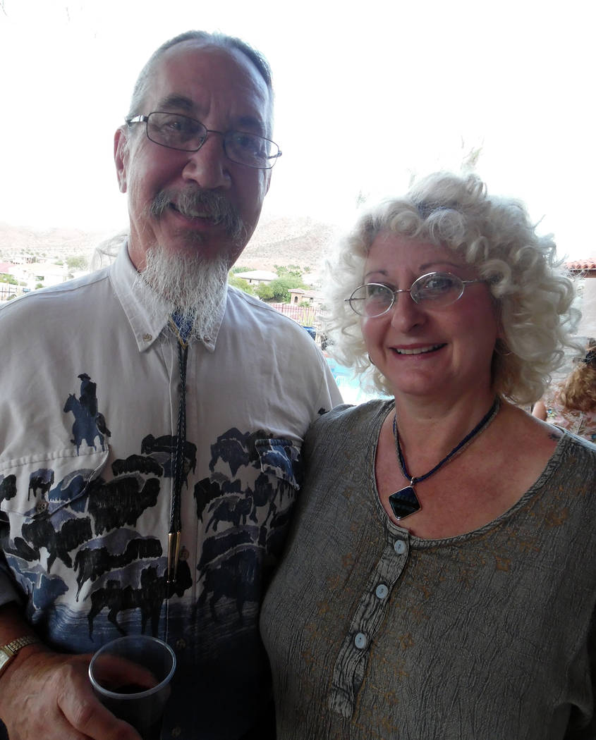 Hali Bernstein Saylor/Boulder City Review Chautauqua scholar Brian Kral and his wife, Dale Kral, attended a reception Friday the evening before his performance at Howard Hughes for Boulder City Ch ...