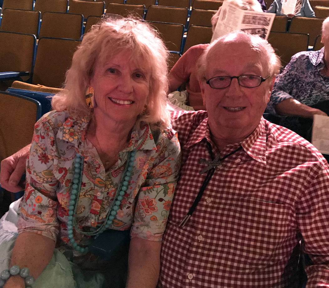 Hali Bernstein Saylor/Boulder City Review Marion and Jess Meyers of Las Vegas were among those attending Saturday's performance presented by Boulder City Chautauqua at the Boulder Theatre.