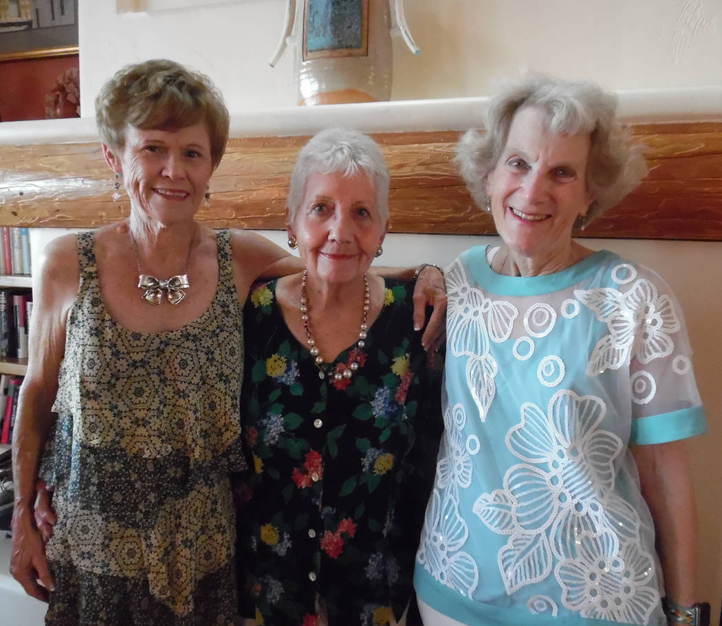 Hali Bernstein Saylor/Boulder City Review Beverly Mazza, from left, Sara Weber and Suzy Stern, seen during A reception for the performers on Friday, helped coordinate this year's Boulder City Chau ...