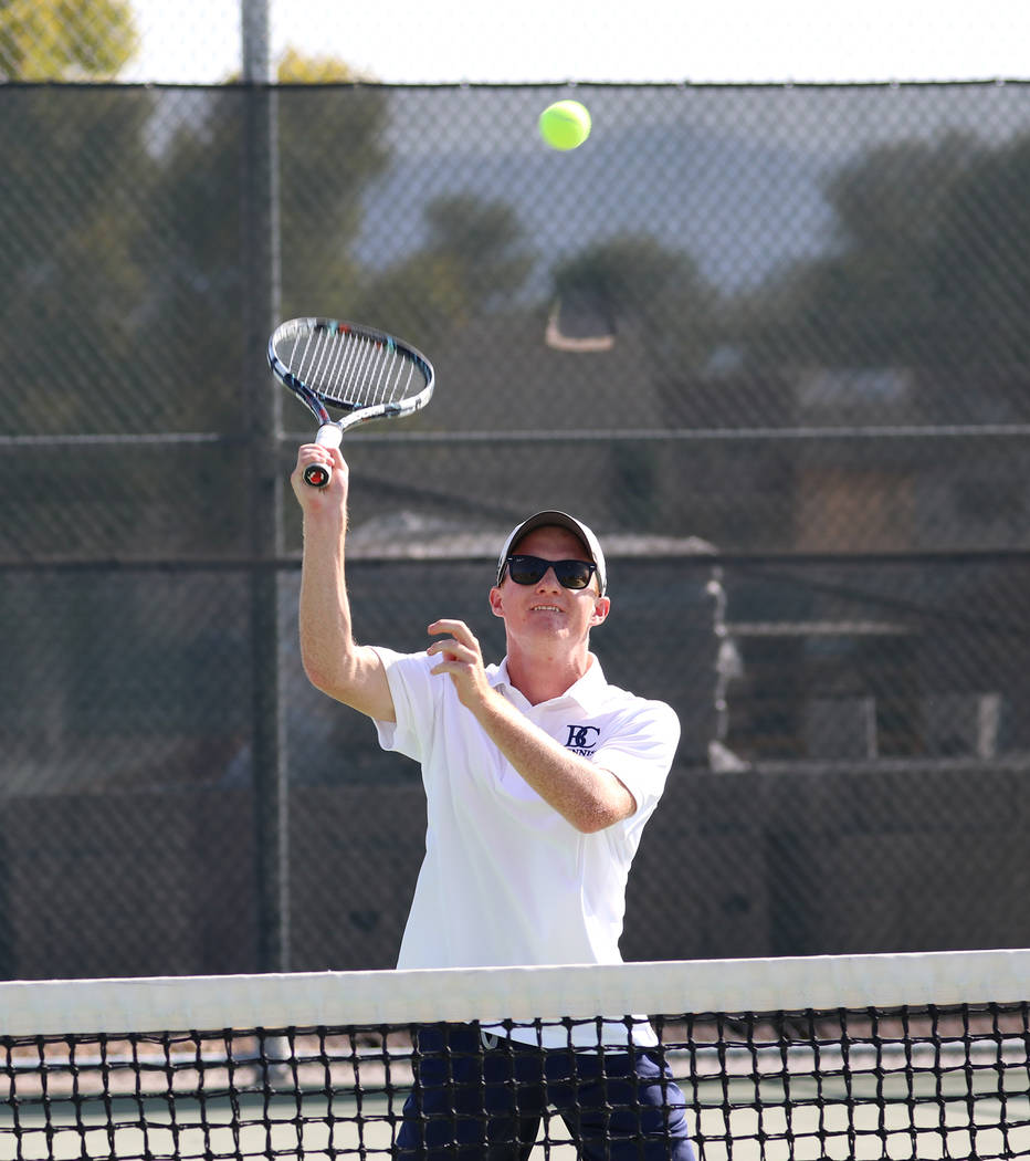 Bryce Rogers/Boulder City Review Boulder City High School senior Tanner Montgomery, who swept his doubles matches 3-0 on Tuesday against Silverado along with partner Karson Bailey, is also expecte ...