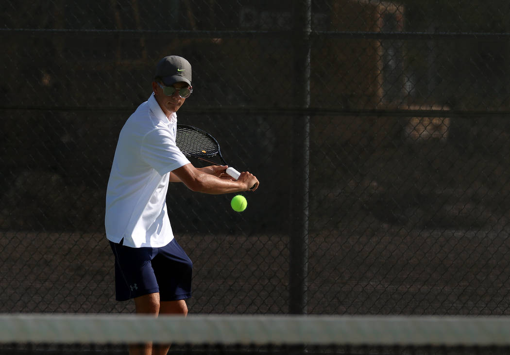 Bryce Rogers/Boulder City Review Boulder City High School senior Andre Pappas headlined the singles competition against Silverado on Tuesday, winning two of his three matches.