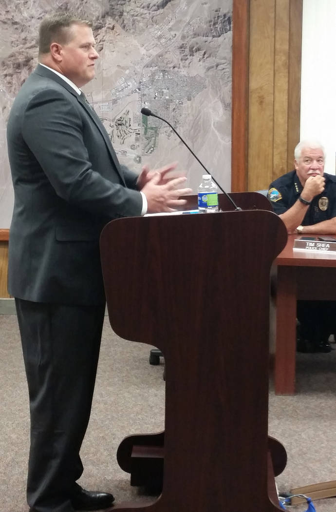 Celia Shortt Goodyear/Boulder City Review City attorney candidate Gordon Goolsby appears before the City Council on Wednesday to answer questions about his qualifications for the position.