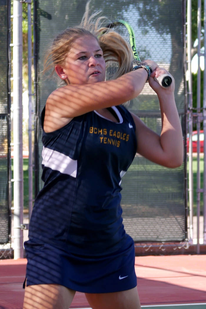 Paul Luisi/Boulder City Review Boulder City High School sophomore Katelyn Fox, seen here at a practice session earlier this season, won both of her doubles matches during Tuesday's game against Ch ...