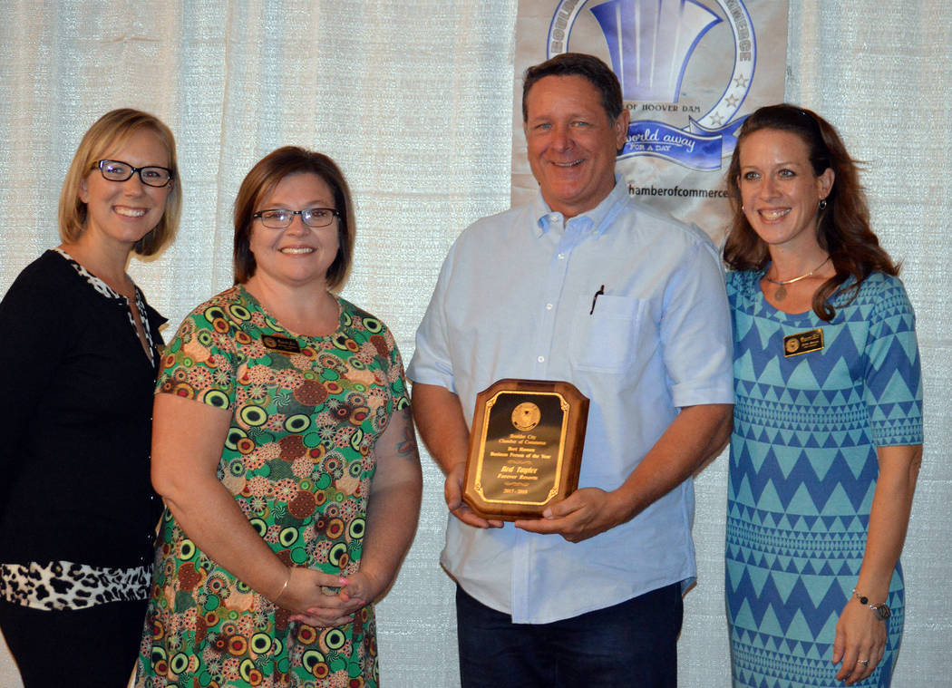 Celia Shortt Goodyear/Boulder City Review Boulder City Chamber of Commerce recognized its Business Person of the Year, Rod Taylor of Forever Resorts, at its installation and awards event Sept. 22. ...