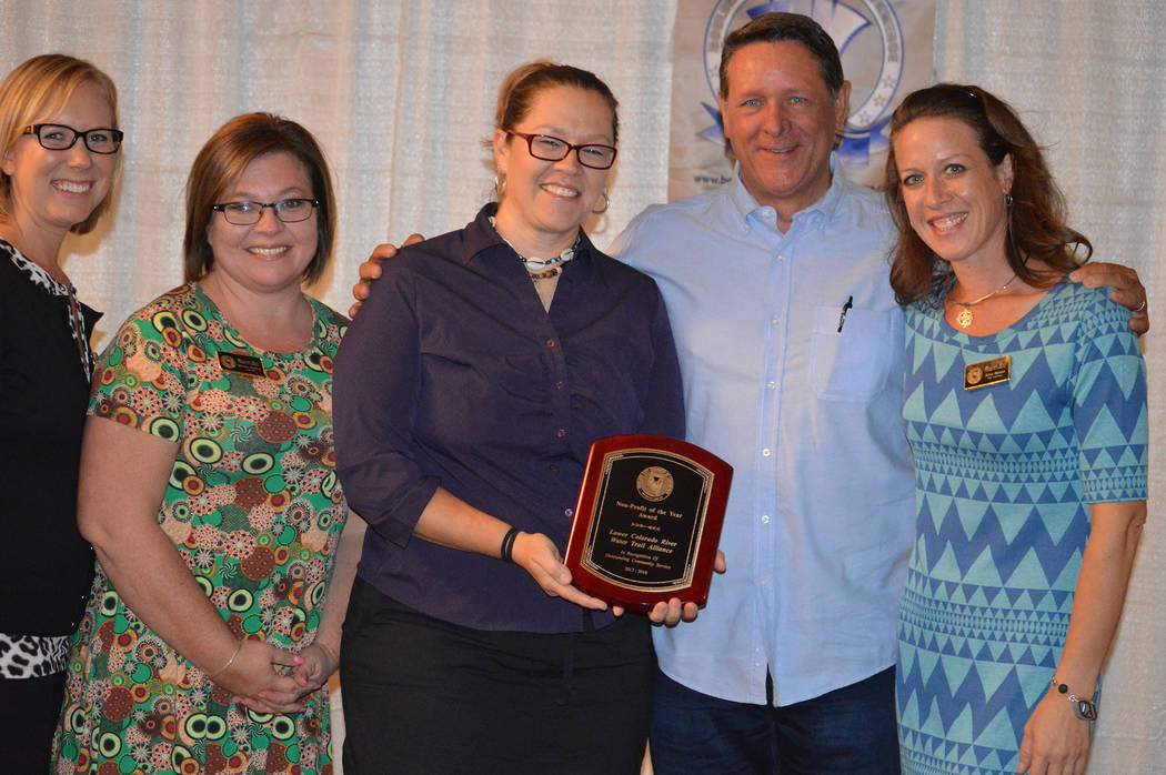 Celia Shortt Goodyear The Boulder City Chamber of Commerce presented its Nonprofit of the Year to the Lower Colorado River Water Trail Alliance, which was accepted by Izzy Collett, third from left ...