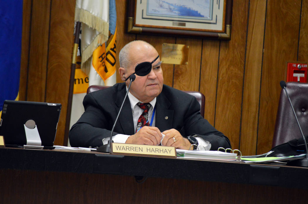 Celia Shortt Goodyear/Boulder City Review Councilman Warren Harhay discusses his choice for the new city attorney at the council meeting on Sept. 26.
