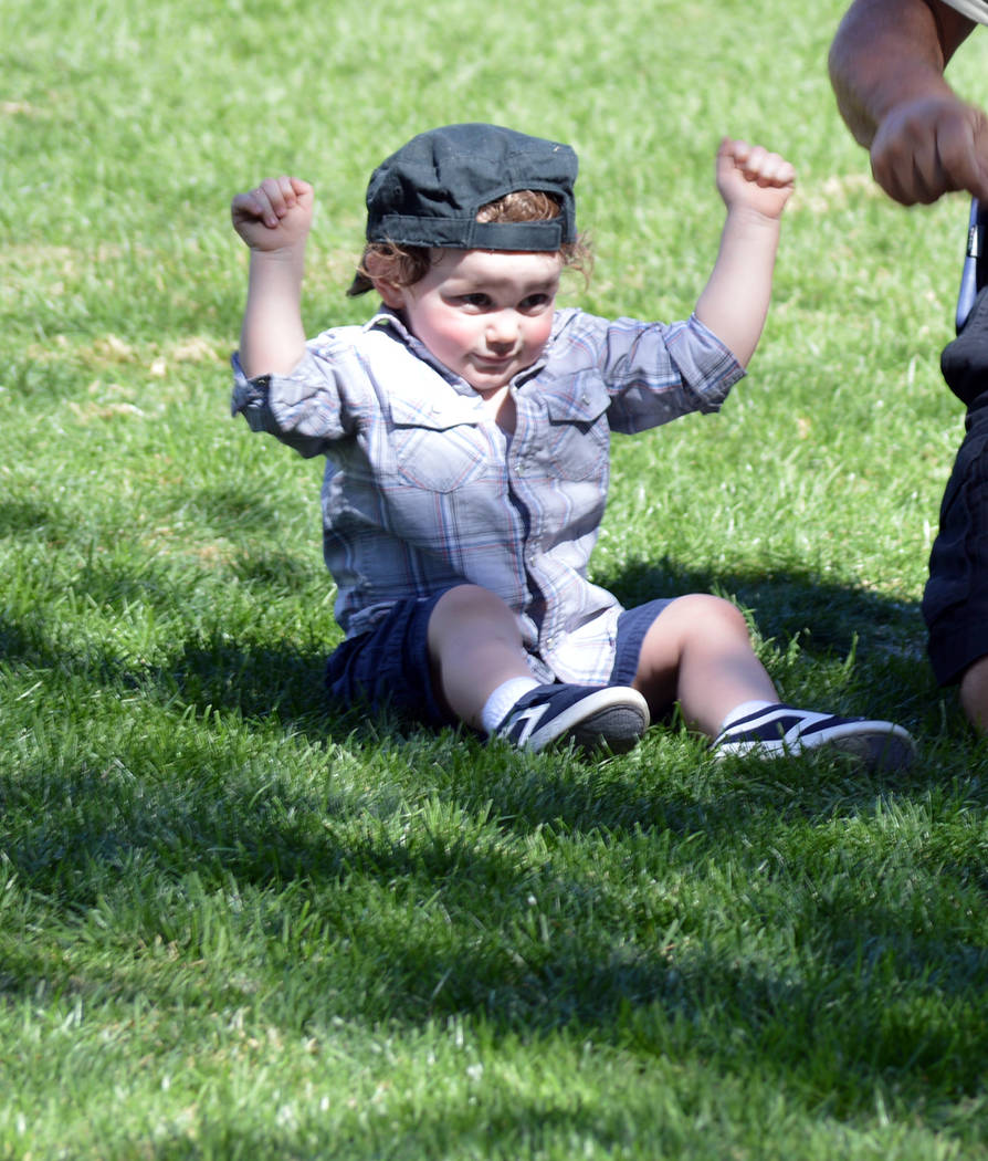 Celia Shortt Goodyear/Boulder City Review Almost 2-year-old Isaac Maguire dances to the music at the 21st annual Wurstfest on Saturday.