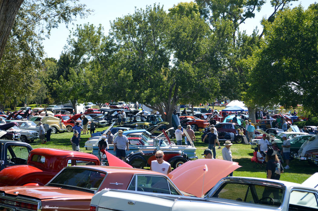 Celia Shortt Goodyear/Boulder City Review Cars filled Wilbur Square Park during the eighth annual Wurst Dam Car Show at Wurstfest on Saturday.