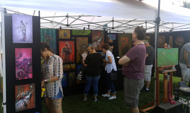 File More than 300 artists and craft vendors from around the Southwest flooded Boulder City for the 54th annual Art in the Park in October 2016. The 55th annual Art in the Park will be held Saturd ...