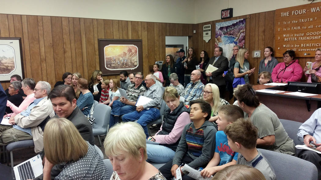 Celia Shortt Goodyear/Boulder City Review Residents fill City Hall on Tuesday to hear StoryBook Home's appeal for the denial of its variance requests.
