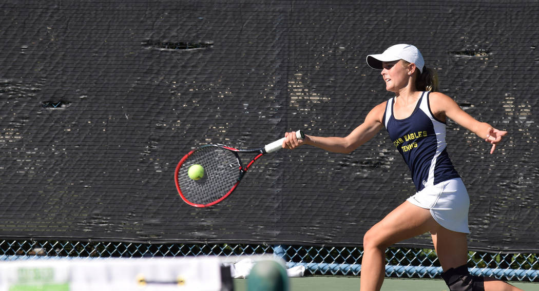 Robert Vendettoli Boulder City High School sophomore Olivia Mikkelson defeated The Meadows sngles player Lindsay Hofflander 6-3, 6-0 on Saturday at the Darling Tennis Center in Las Vegas to captur ...