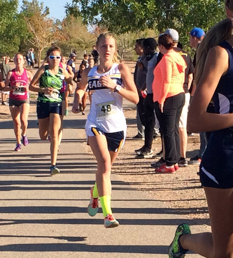 Staci Selinger Boulder City High School senior Sierra Selinger was the top finisher for the Lady Eagles cross-country team Saturday in the Lake Mead Invitational at Veterans' Memorial Park. She fi ...