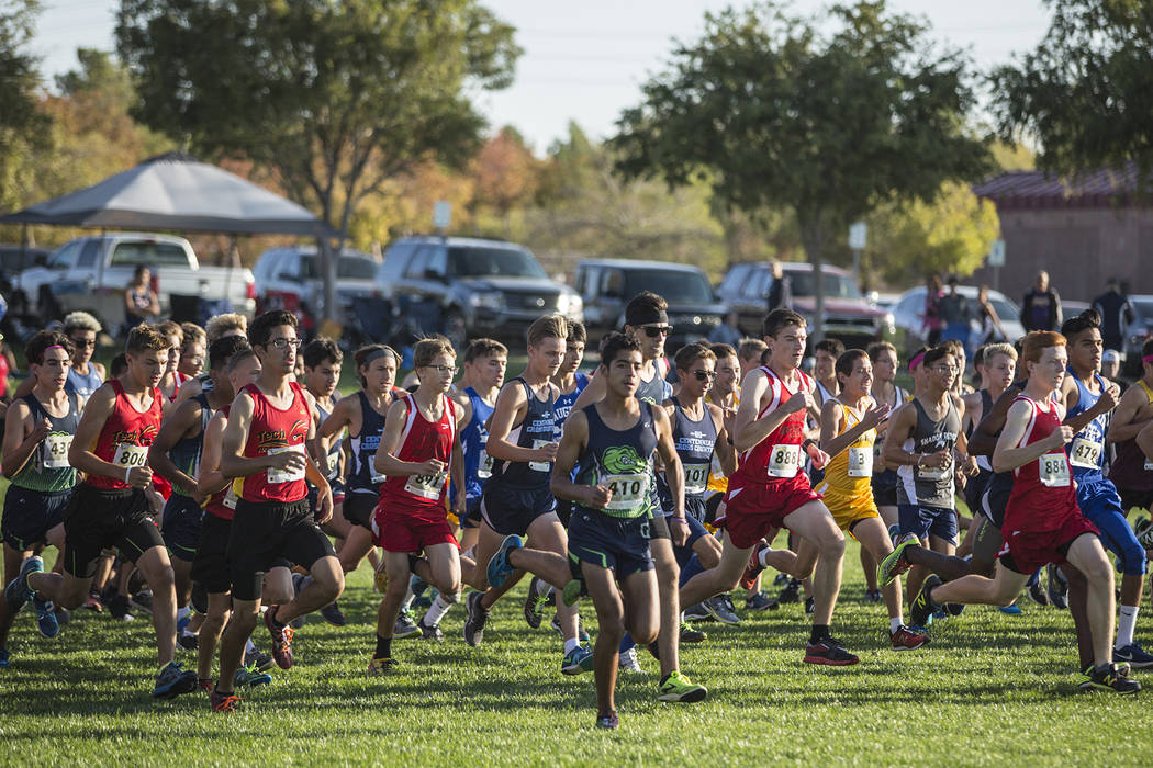 Oksana Saulenko/Boulder City Review A crowded field of competitors started the Lake Mead Invitational cross-country meet on Saturday at Veterans Memorial Park.