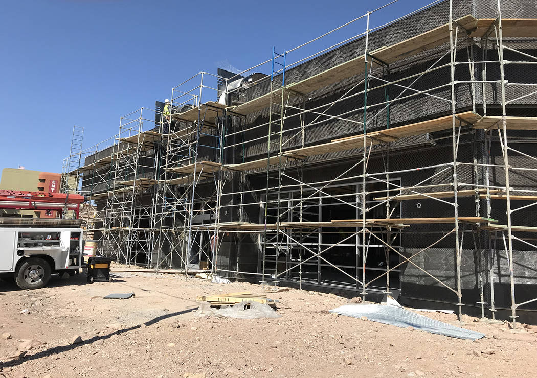 Hali Bernstein Saylor/Boulder City Review Work continues on the convenience store that is part of the Railroad Pass' new travel center. Plans call for it to be open Jan. 1, 2018.