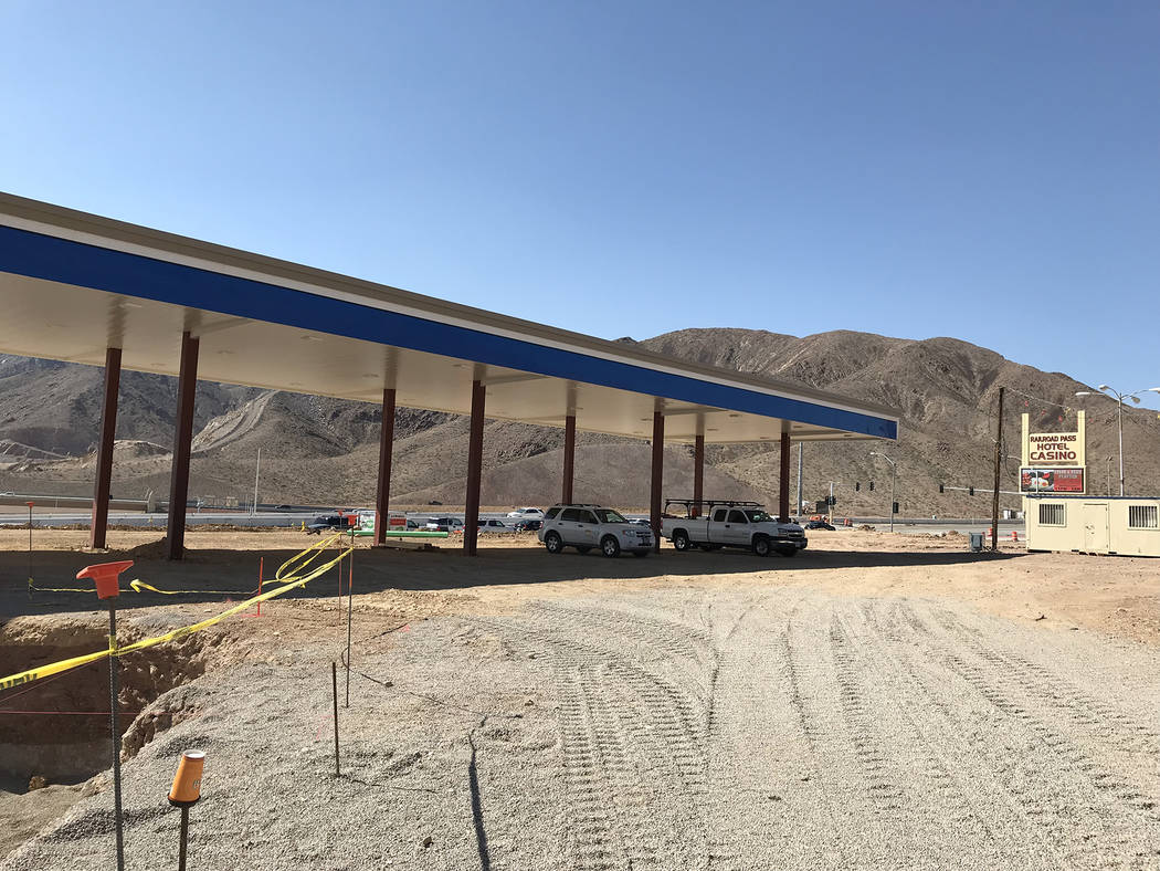 Hali Bernstein Saylor/Boulder City Review Work progresses on Oct. 12 on the new travel center at Railroad Pass. It will include a Chevron gas station, seen at left, as well as a separate area for  ...