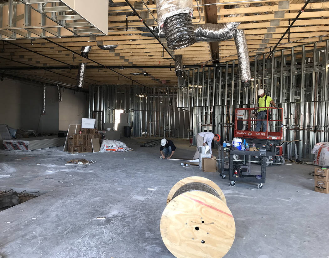 Hali Bernstein Saylor/Boulder City Review Work progresses on Oct. 12 on the new travel center at Railroad Pass, which will include showers, seen under construction at the far right, and a variety  ...
