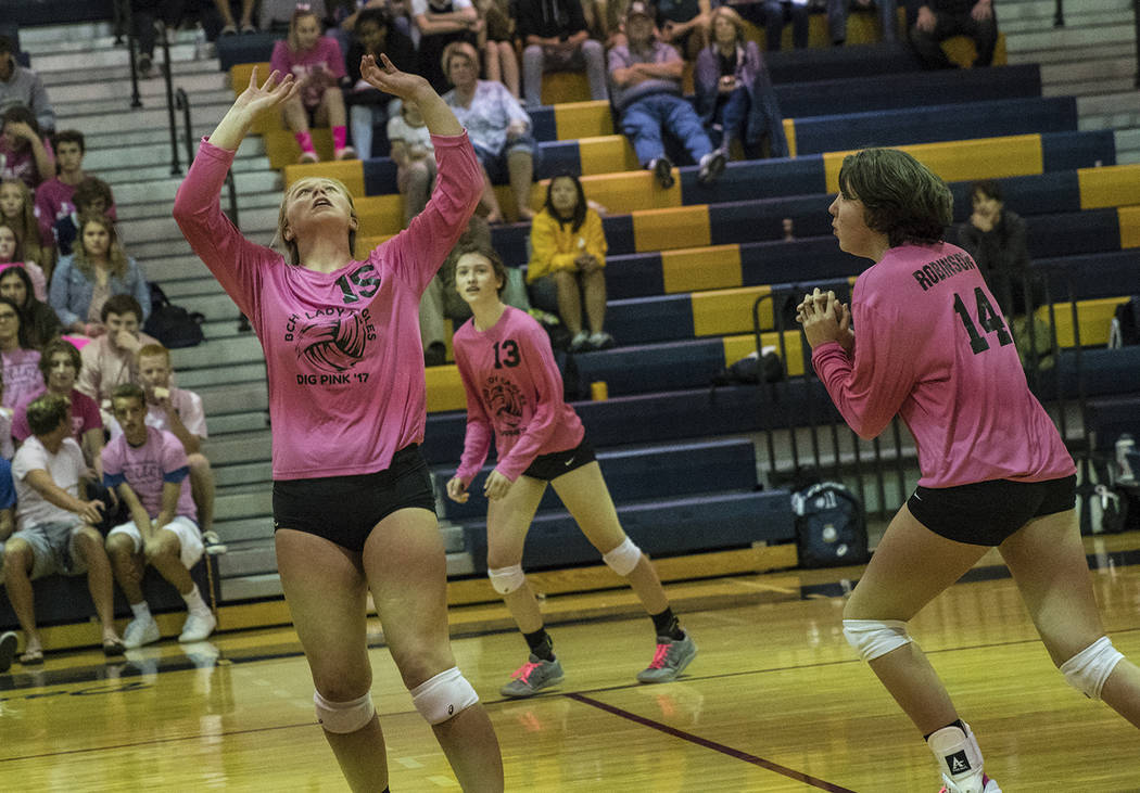 Oksana Saulenko/Boulder City Review Boulder City High School volleyball players, from left, Maggie Roe, Raegan Herr and Kelsi Robinson were key in the Lady Eagles' rout of the Roadrunners from Sou ...