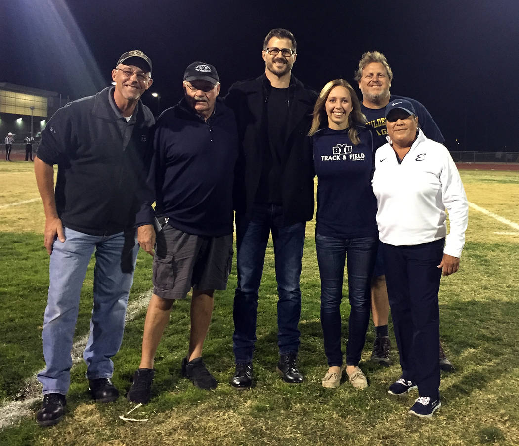 Amy Wagner Boulder City High School recognized its newest members of its Golden Eagle Hall of Fame, from left, Bob Stoltz, Kevin Keegan, Shane Stemmer, Katie Palmer-Mackay, Frank Baird and Regina  ...