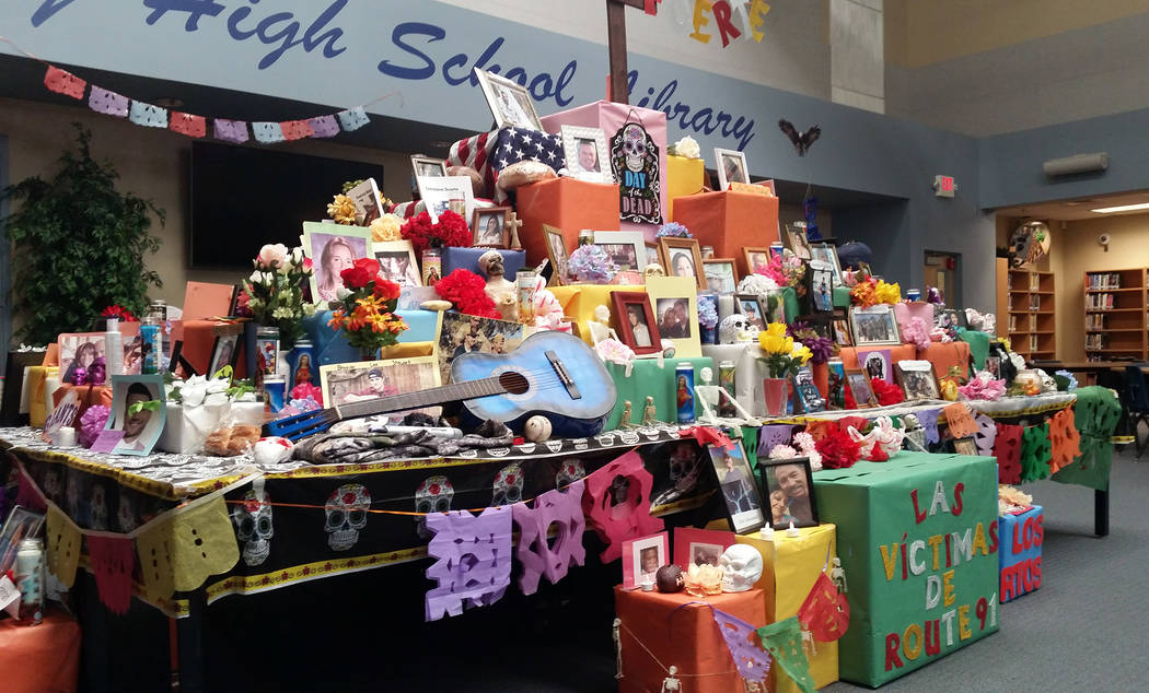 Celia Shortt Goodyear/Boulder City Review To honor the 58 victims of the Route 91 Harvest music festival, including her friend, Spanish teacher Jennifer Marchant and her students created an altar  ...