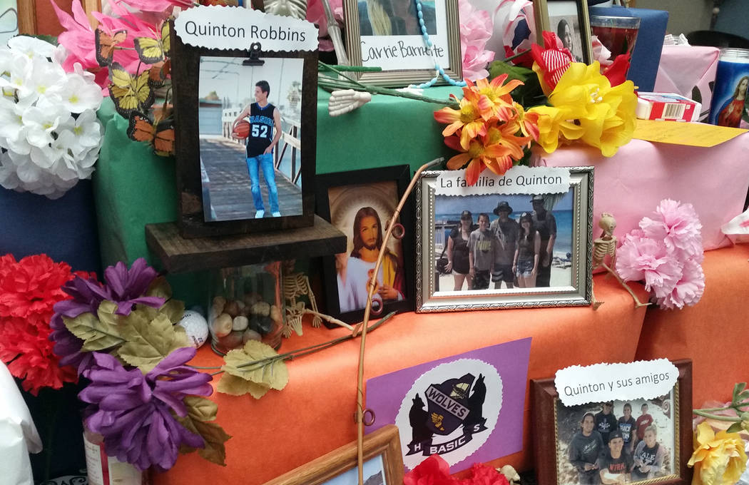 Celia Shortt Goodyear/Boulder City Review Boulder City High School Spanish teacher Jennifer Marchant honored her friend Quinton Robbins, a victim of the shooting at the Route 91 Harvest music fest ...
