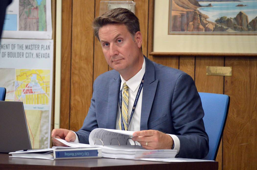 Celia Shortt Goodyear/Boulder City Review Acting City Attorney Steve Morris listens to a presentation at Tuesday's City Council meeting.