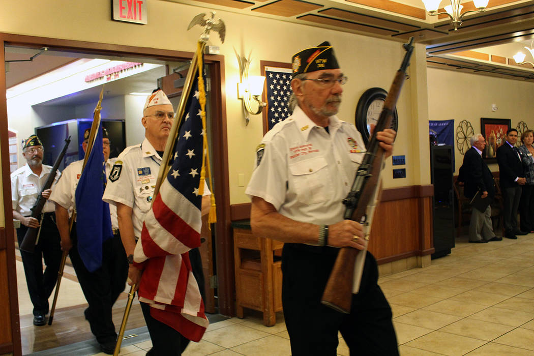 The Honor Guard opens up a ceremony for Vietnam veterans at Nevada State Veterans Home in Boulder City on Nov. 3, 2017. The Vietnam veterans were given special coins, designed by Vegas PBS. Briana ...