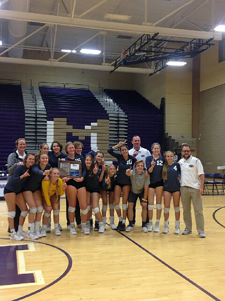 Photo courtesy of Stephanie Wright Boulder City High School girls volleyball in a team photo after knocking off top-seeded Moapa Valley 3-1 in the 3A Southern Region championship game.