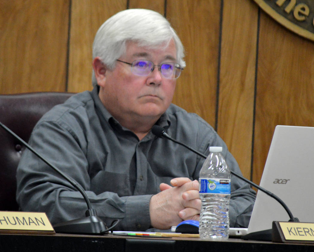 Celia Shortt Goodyear/Boulder City Review Councilman Kiernan McManus listens to a presentation at Tuesday's City Council meeting.