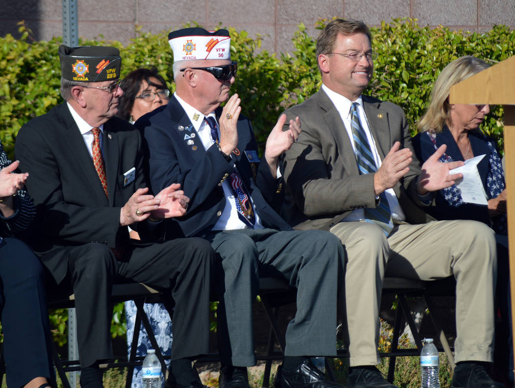 Celia Shortt Goodyear/Boulder City Review Special visitors, from left, John Stroud, past Veterans of Foreign Wars national commander-in-chief and keynote speaker; Bob Garlow, past state commander  ...