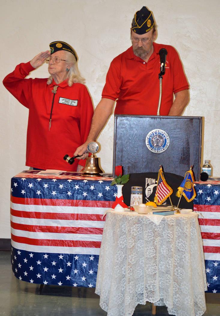 Celia Shortt Goodyear/Boulder City Review  Ruth Taylor, chaplain of American Legion, Post 31, and Glenn Feyen, Post 31 commander, rang bells 11 times in honor of veterans during the post's Veteran ...