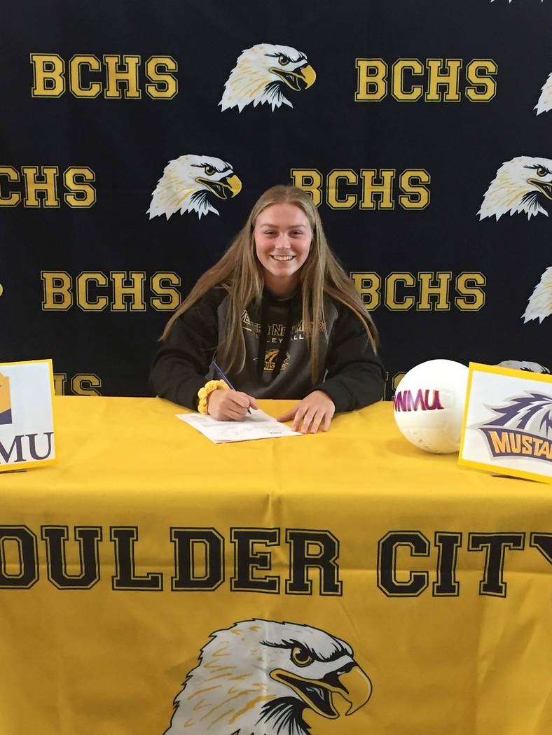 Amy Wagner Maggie Roe, a senior at Boulder City High School, signed her signing her national letter of intent with Division II program Western New Mexico on Nov. 8.