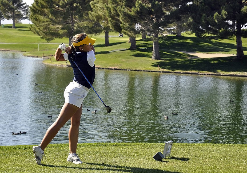 Horace Langford Jr./Pahrump Valley Times  Boulder City senior golfer Lani Potter on the 10th hole at Mountain Falls. She shot a 149 to take the Class 3A individual state championship.