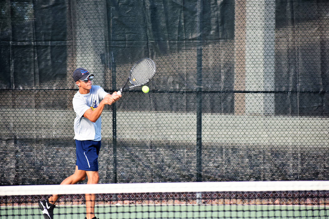 Robert Vendettoli/Boulder City Review Boulder City High School senior Andre Pappas, seen earlier this year in a match against Desert Pines, recently received All-Southern Region First Team accolad ...