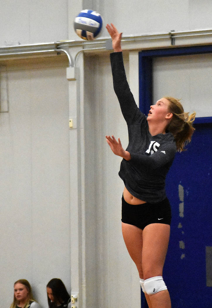 Robert Vendettoli/Boulder City Review Boulder City High School girls volleyball star senior Maggie Roe was recently named 3A Nevada Most Valuable Player, All-Southern Player of the Year and All Su ...
