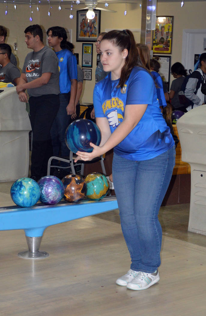 Celia Shortt Goodyear/Boulder City Review Boulder City High School bowler Christine Smith practices before Monday's first match of the season at Boulder Bowl.